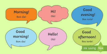 Social Greetings Prompt Cards English/Portuguese - eal, transaltion, hello, hi, good morning, sentence starters
