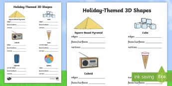 Holiday Themed 3D Shape Activity Sheet - sphere, cube, prism, pyramid, cylinder, cone, cuboid, Worksheet