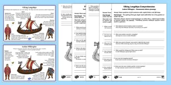 Viking Longships Information and Comprehension Activity English/Polish - Viking Longships Differentiated Reading Comprehension Activity - vikings, longships, comprehension,