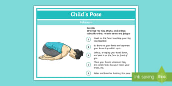 Yoga Child's Pose Step-by-Step Instructions - Yoga, health, stress, calm, peace, KS1, KS2, well being, anxiety, work life balance, WLB