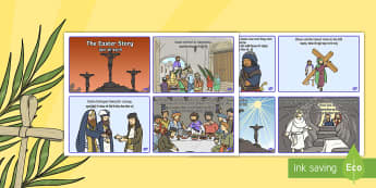 Easter Story Sequencing Cards English/Hindi - Easter Story Sequencing Shortened 8 Cards - easter, story, cards, story sequncing, squencing, easter