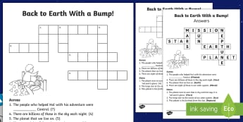 Back to Earth with a Bump Crossword - Back to Earth with a Bump, space, planets, night and day, dark, sun, Mars, moon, stories, picture bo