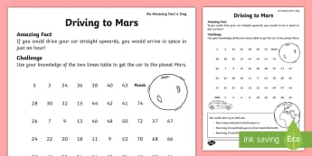 Driving to Mars Activity Sheet - july amazing fact, KS1, maths, two times table, multiplication, worksheet