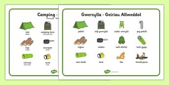 Welsh Camping Vocabulary Keywords - welsh, cymraeg, Gwersylla, chwarae r