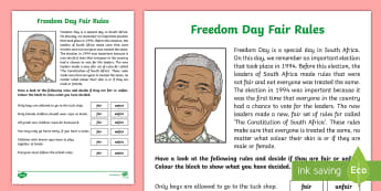 Freedom Day Fair rules Activity Sheet - South Africa, Freedom Day, 27th April, fair, rules, unfair, election, Worksheet, vote, leaders, The