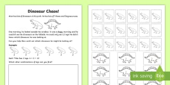 Dinosaur Chaos Activity Sheet - Year 1, Maths Mastery, multiplication, multiply, times, lots of, product, divide, division, share, e