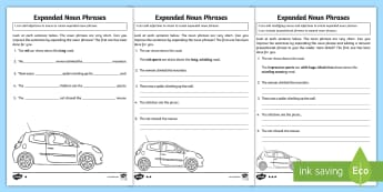 Expanded Noun Phrases Differentiated Activity Sheet Pack - GPS, grammar, nouns, noun phrases, expanded noun phrases, worksheet