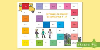 Autobuzul cu scăderi Joc de masă - află termen necunoscut, matematică, adunări, scăderi, activități, jocuri, fișe,Romanian