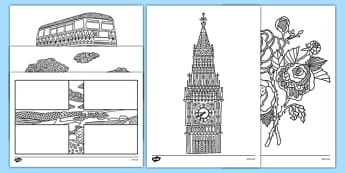 England Mindfulness Colouring Sheets - england, mindfulness, colouring, sheets, colour