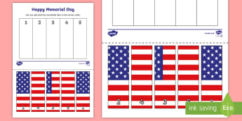 Memorial Day 1-5 Number Sequencing Puzzle - Memorial Day worksheet, Flag puzzle, Memorial day puzzle, number puzzle 1-10, Memorial day number puzzle, Pre-