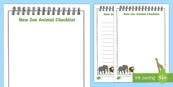 New Zoo Animal Checklist - Early Years, list, writing, mark making, activity sheet, emergent writing, role-play