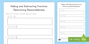 Adding and Subtracting Fractions: Determining Reasonableness Activity Sheet - fractions, addition, subtraction, reasonableness, mixed numbers, worksheet