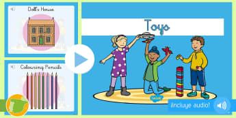 Presentación con audio: Los juguetes - Inglés - toys, audio, lengua extranjera, inglés, english, ,Spanish-translation