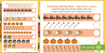 Autumn Counting Activity Sheet English/French - autumn, counting, activity, how many, foundation numeracy, counting on, counting back,  harvest, har