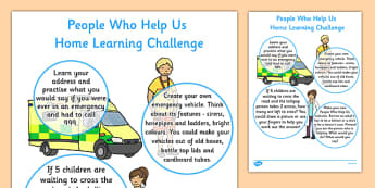 EYFS People Who Help Us Home Learning Challenge Sheet Nursery FS1 - EYFS planning, Early years activities, homework activities, people who help us