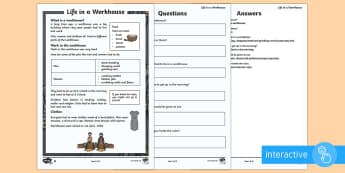 KS1 Life in a Workhouse Differentiated Comprehension Go Respond Activity Sheets - KS1, reading comprehension, differentiated reading, GoRespond reading comprehension,year 1, year 2,