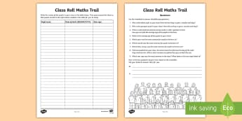 Class Roll Maths Trail Activity Sheet - maths, measures, data, interpreting, class roll, date of birth, maths trail, activity sheet, work sh