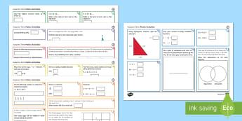Half Term 1 Lower Ability Maths Activity Mats - maths, mat, activity, ks3, year, 7, 8, 9, half term, lower