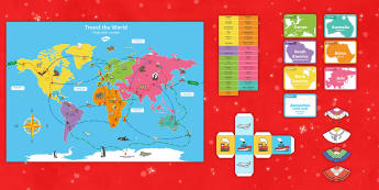 Christmas Around the World Board Game English/Portuguese  - christmas, game, board game, locations, geography,eal