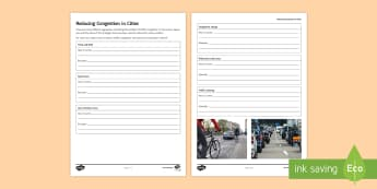 Reducing Congestion in Cities Activity Sheet  - Secondary - Geography - Urbanisation KS3, urbanisation, worksheet, activity sheet, congestion