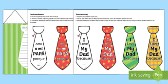 Father's Day Flap Tie Card Craft English/Spanish - Fathers Day Flap Tie Card Craft - fathers, day, flap, tie, card, australia, fathers day ideas, prese