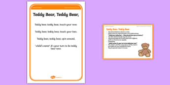 Foundation PE (Reception) Teddy Bear Teddy Bear Warm-Up Activity Card - physical activity, foundation stage, physical development, games, dance, gymnastics