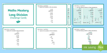 Year 6 Calculation Long Division Maths Mastery Activities Challenge Cards - year 6, calculation, long division, maths mastery, maths, mastery, mathematics, activity, challenge cards, fast finisher