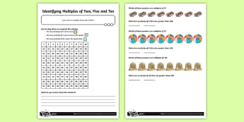 Identifying Multiples of 2, 5 and 10 Activity Sheet - 2x, 5x, 10x, Number, multiples, times tables, steps of, counting on, problem solving, worksheet, mat