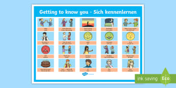 Getting to Know You German Display Poster - Getting to Know You German Display Poster - german, vocabulary, phrases, german, getting to know you