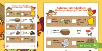 Autumn Hunt Checklist English/German  - autumn hunt, checklist, autumn, hunt, autmn, autunm, atumn, aurum, aurumn, autmn,German-translation