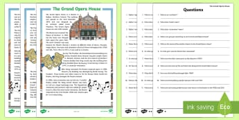 The Grand Opera House in Belfast Differentiated Reading Comprehension Activity - World Around Us KS2 - Northern Ireland, belfast opera house, geography, literacy, primary 7, primary