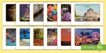Jahresmonate Poster für die Klassenraumgestaltung - Jahresmonate, Display, Poster