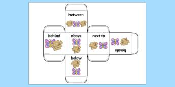 Prepositions Dice Net - die net, position, position dice, visual aid, prepositions