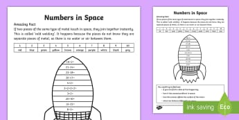 Rocket Calculation Colour by Number - Amazing Fact Of The Day, activity sheets, powerpoint, starter, morning activity, January, ks1 amazin