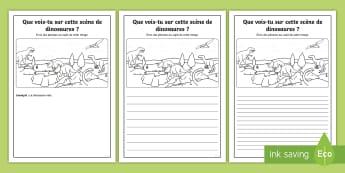Supports imagés pour la production d'écrits : Les dinosaures - Écriture, Écrire, Français, Cycle 2, Cycle 1,dinosaures