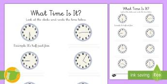 Ficha de actividad: Escribir la hora - Inglés - time, clock, lengua extranjera, english, horario, reloj,Spanish-translation