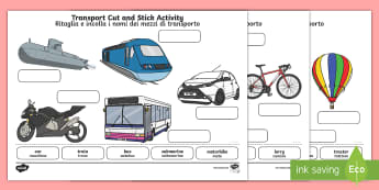 Transport Scene Labelling Cut and Stick Activity Sheet English/Italian - transport, label, identify, activity sheet, EAL