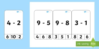 Subtraction From 10 Cards - activities, game, games, pegs