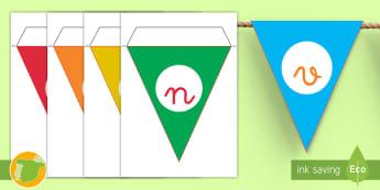 Banderitas de exposición: Bienvenidos a nuestra clase - banderitas, bienvenidos, bienvenida, clase, aula, decorar, decoración, exponer, exposición, ,Spani