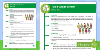 KS2 Take It Outside: Summer Worry Dolls Activity - PSHCE, Forest School, Nature Detectives, emotions, wellbeing, outdoor, woodland learning, twinkl outdoor and woodland learning owl get it