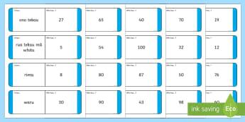 Numbers 1-100 Te Reo Māori Translation Loop Cards - Numbers 1-20 Loop Cards Te Reo Māori Translation - te reo māori, new zealand, nz, loop cards,numbe