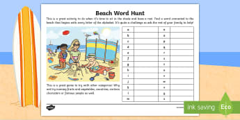 Beach Word Hunt Activity Sheet - holiday, family, games, seaside, summer, Worksheet