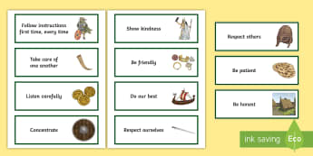 KS2 Vikings-Themed Class Charter Cards - rules, behaviour, display, back to school, teacher organisation