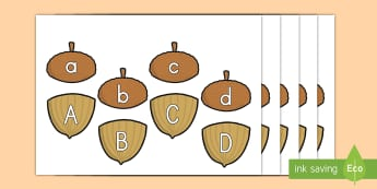 Fall Acorn Upper and Lower Case Matching Activity - letters, writing, acorns, kindergarten, grade 3, grade 4, grade 5