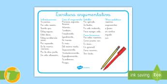 Tapiz de vocabulario: Escritura argumentativa - escribir, lengua, castellano, textos, frases, claves,,Spanish