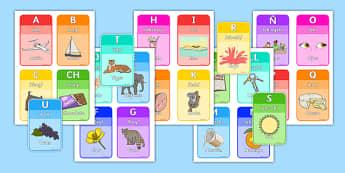 Tarjetas - El abecedario - letras, decoración
