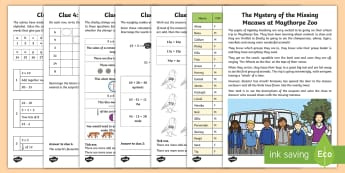 KS1 The Mystery of the Missing Macaws at Maythorpe Zoo Maths Game - calculations, problem solving, numeracy, clues, adding and subtracting money