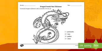 Dragonul chinezesc Colorează după codul numerelor - numere, culori, numărul și cifra, culori, arte, numerație, Romanian