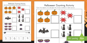 Halloween Counting Activity Sheet - Number Recognition, Counting Skills, Bat, Spiders, Cutting Skills, Cauldrons, worksheet