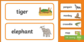 Who's at the Zoo? Word Cards - exploring my world, aistear, story, zoo, literacy, oral language, reading, animals, tiger, elephant,